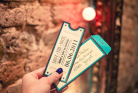 Vintage concert ticket invitations