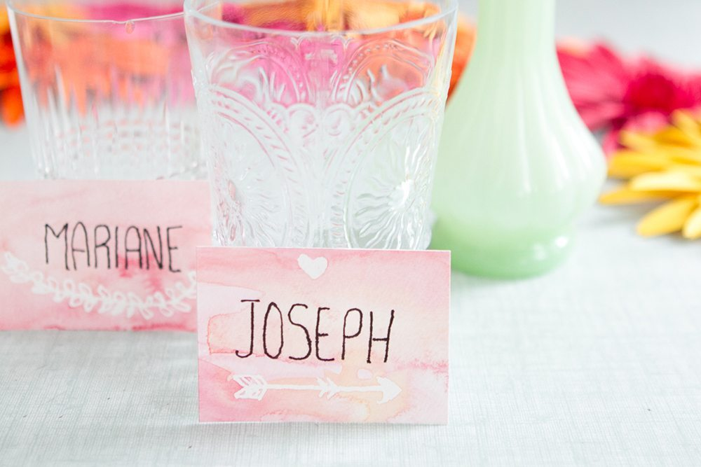 Diy Watercolor Place Cards Blog Mariage Mariage